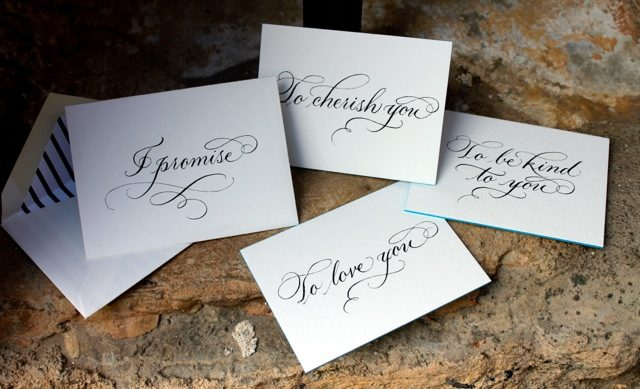 A client recently commissioned Sarah Hanna to create hand calligraphed promise cards for an elaborate proposal