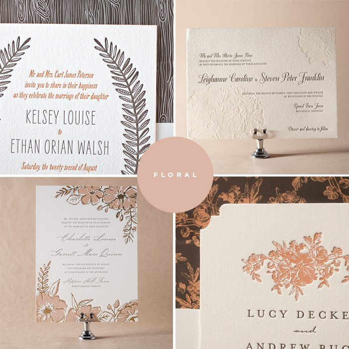 Floral letterpress wedding invitations by Jessica Tierney for Bella Figura are on sale now through June 30, 2014!