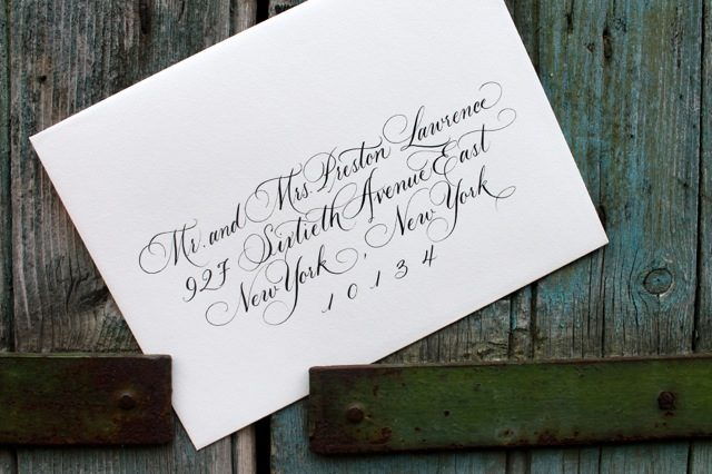 Embellished Honoured Guest hand calligraphed envelopes by Sarah Hanna