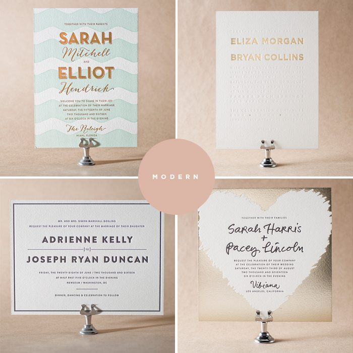 Modern letterpress wedding invitations by Jessica Tierney for Bella Figura are on sale now through June 30, 2014!