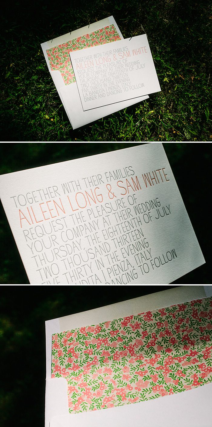 Handdrawn letterpress wedding invitations