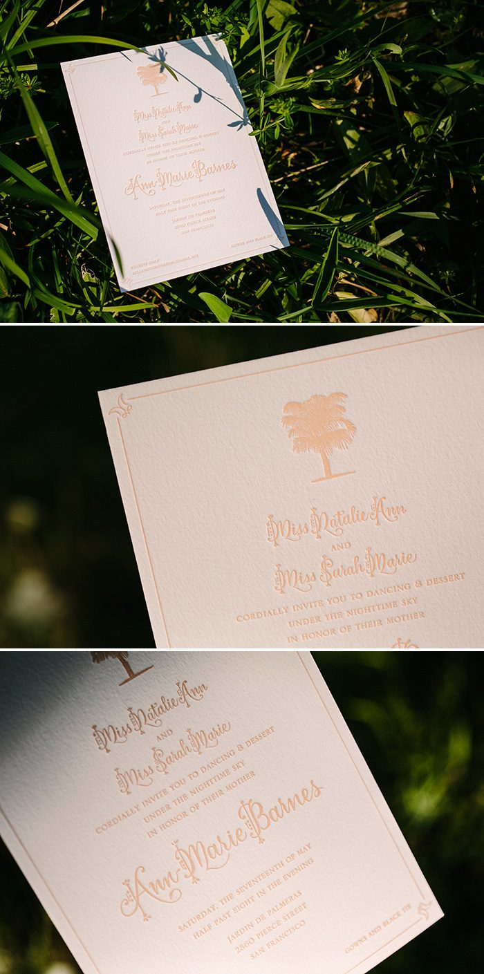 Palm tree and calligraphy letterpress invitations by Bella Figura