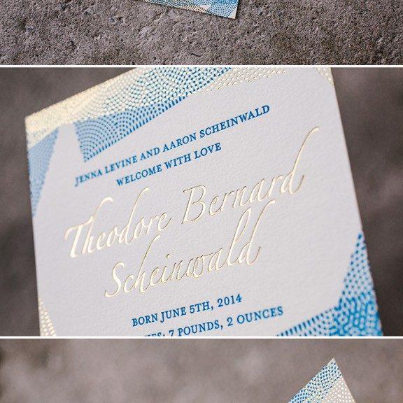 letterpress and foil birth announcement | Bella Figura