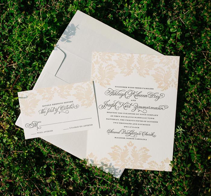 Beth Barr's vintage Damask wedding invitations