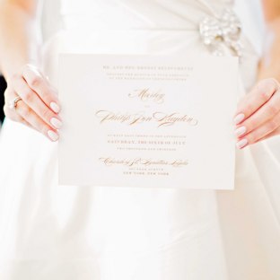 Bella Figura real wedding featuring Deveril invitations