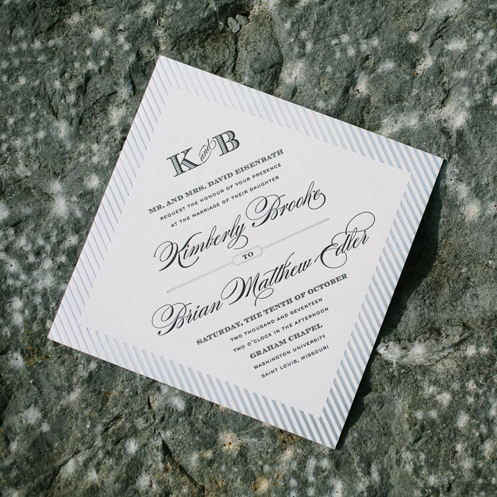 Beth Barr's formal Quintessence wedding invitation design for Bella FIgura