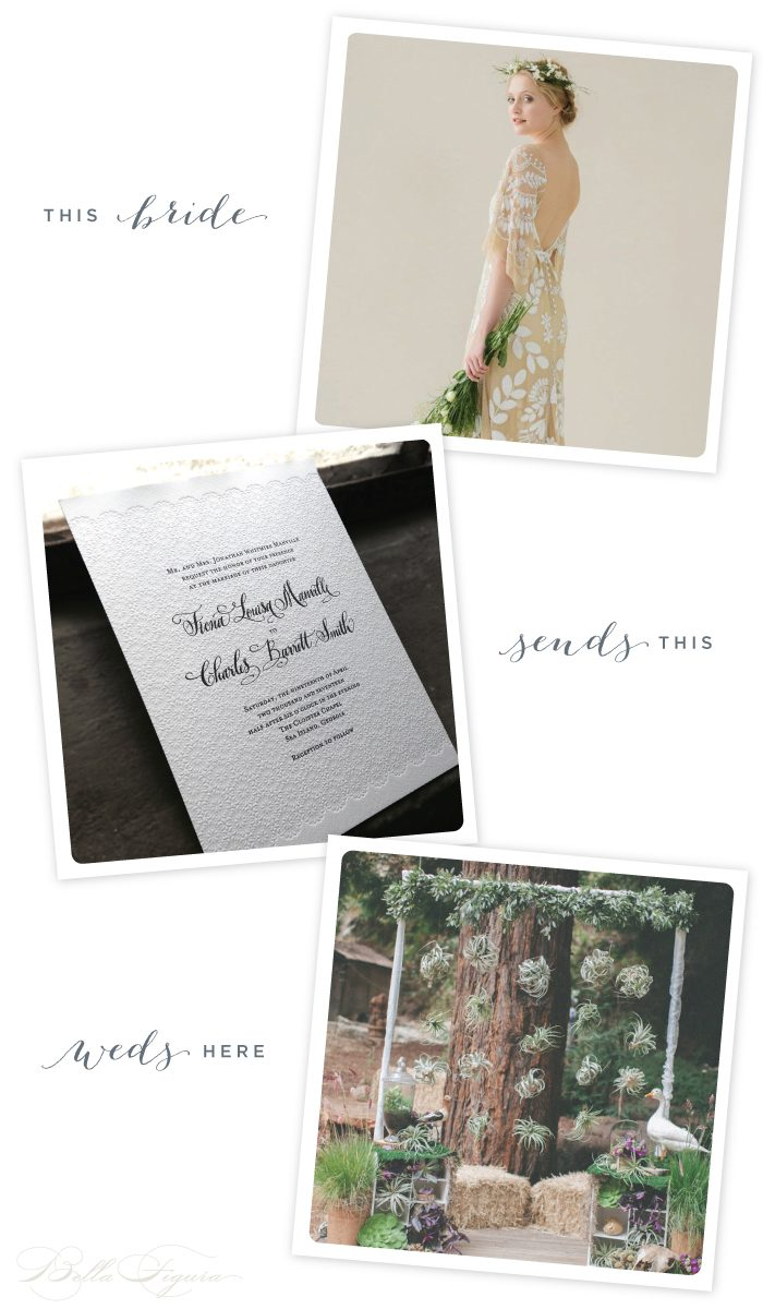 The Gournay letterpress invitation from Bella Figura + lace wedding inspiration
