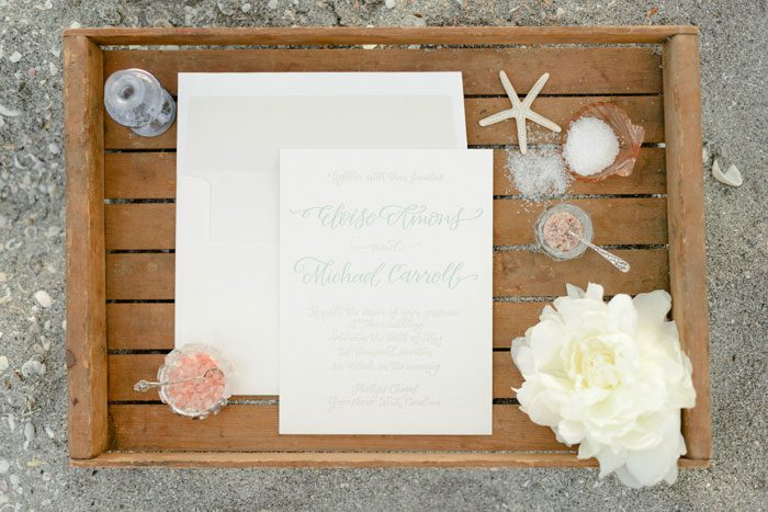 Bella Figura Calligrapher Elizabeth Hardin's Amons calligraphy wedding invitation was featured in the Fall 2014 issue of Occasions Magazine! Photography by Rustic White