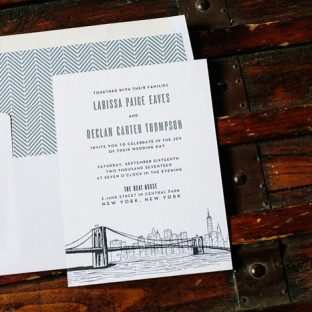 Bright Lights letterpress wedding invitation by Courtney Jentzen for Bella Figura | on sale during the month of September 2014