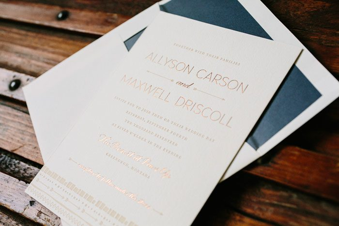 A customization of the Ellipse letterpress wedding invitation by Courtney Jentzen for Bella Figura | on sale during the month of September 2014