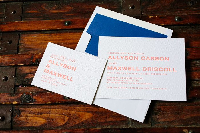 Ellipse letterpress wedding invitation by Courtney Jentzen for Bella Figura | on sale during the month of September 2014