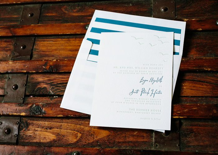 Waterfront letterpress wedding invitation by Courtney Jentzen for Bella Figura | on sale during the month of September 2014