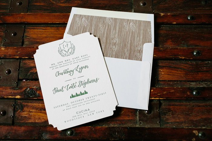 Woodland letterpress wedding invitation by Courtney Jentzen for Bella Figura | on sale during the month of September 2014