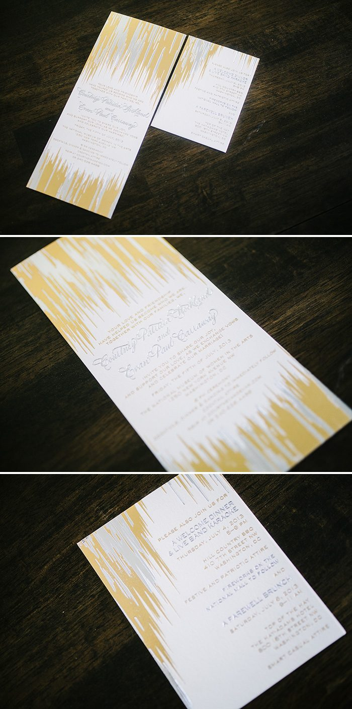 foil stamped Fugue wedding invitations | Bella Figura
