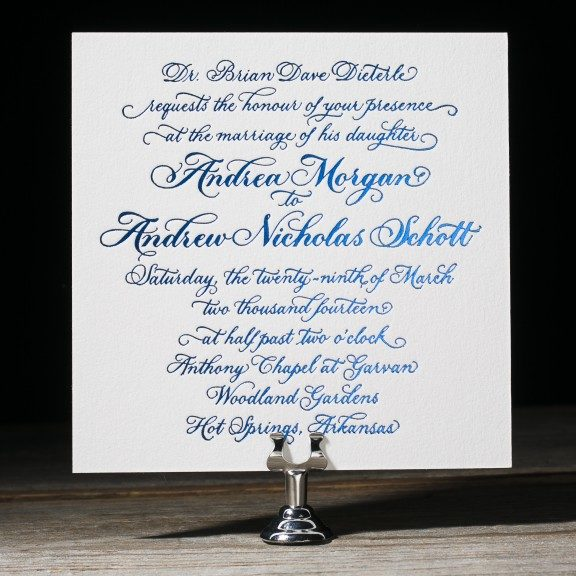 honoured guest calligraphy wedding invitations