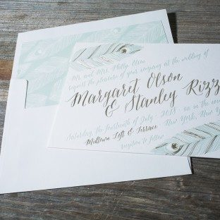 Aviary foil stamped + letterpress wedding invitations from Bella Figura