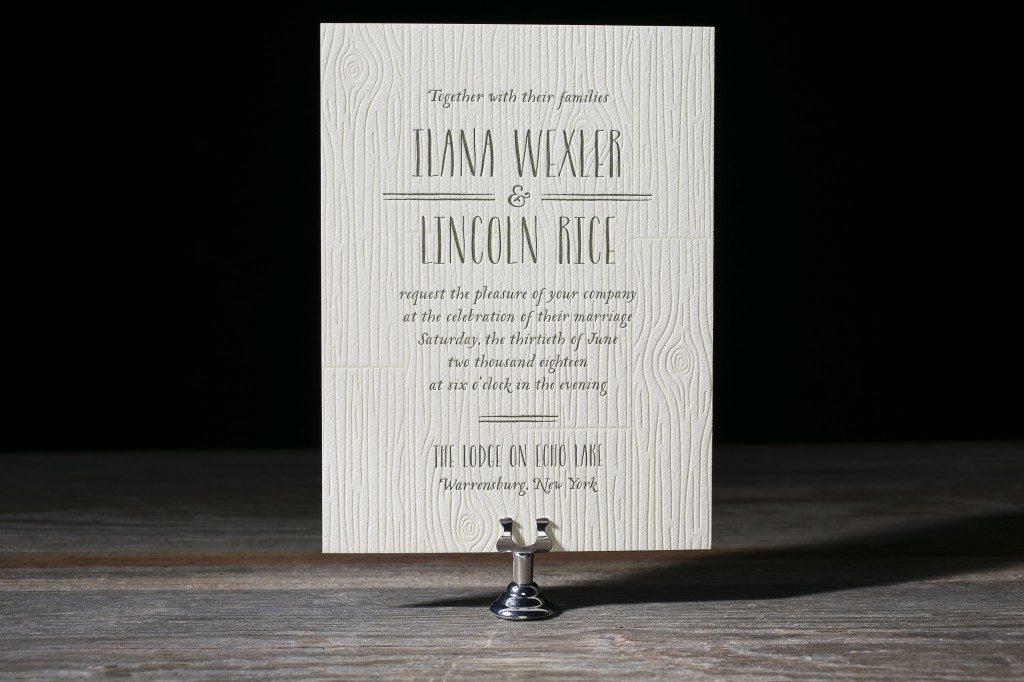 Heartwood letterpress wedding invitations from Bella Figura