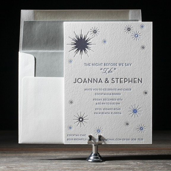 Mid Century Romance Save The Date Cards: Celeste Letterpress & Foil Stamped Wedding Invitations