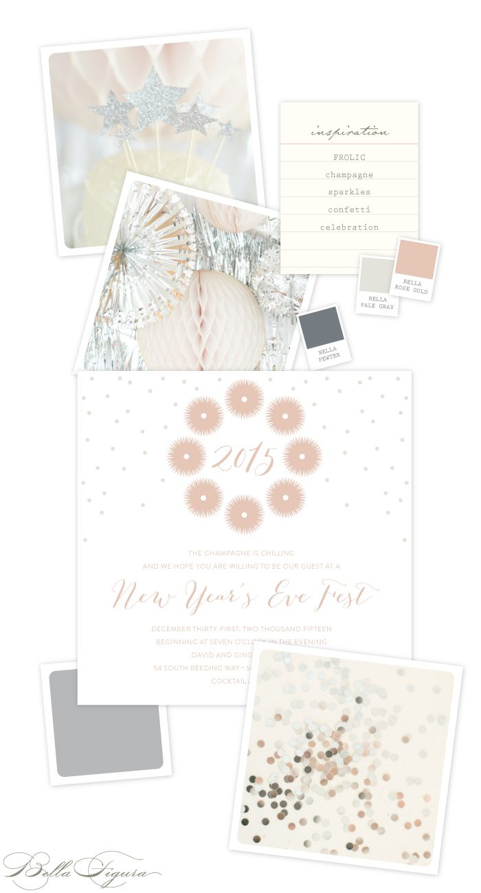 Rose gold New Year's Eve party invitation ideas featuring the Frolic design by Kamal for Bella Figura
