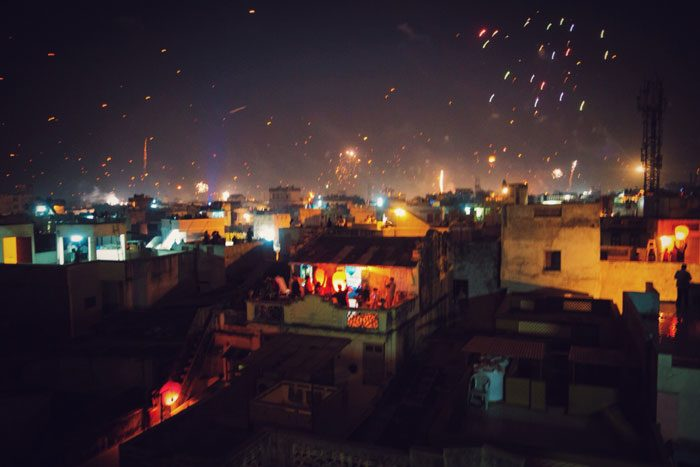 Night scenes from the Uttarayan International Kite Festival in Gujarat, India