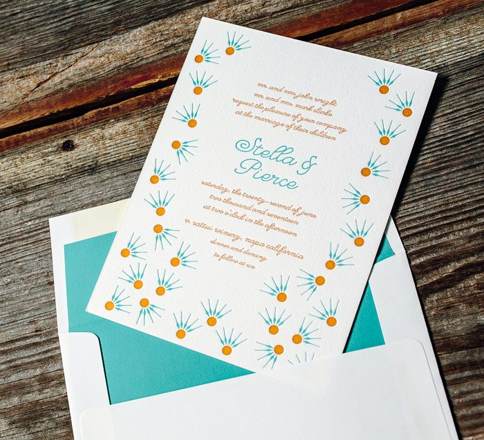 Floret letterpress wedding invitation by Kamal for Bella Figura