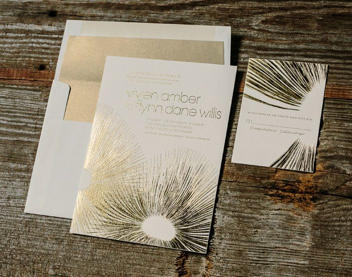 Glamorous Blooms foil stamped wedding invitation by Kamal for Bella Figura