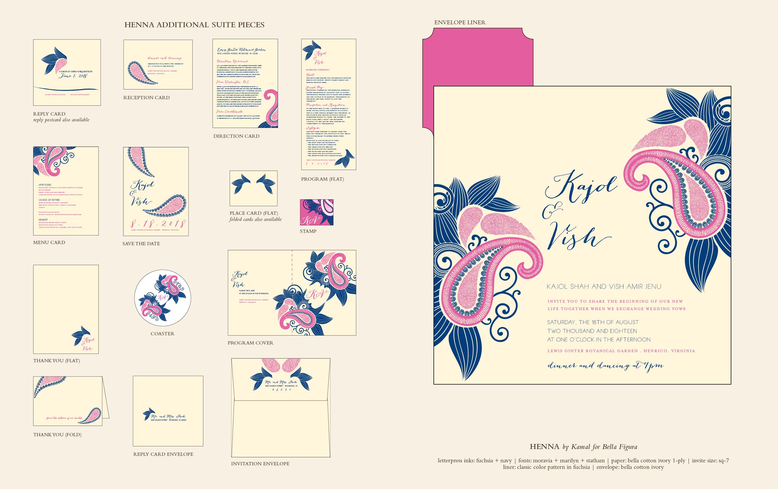 henna paisley wedding invitations