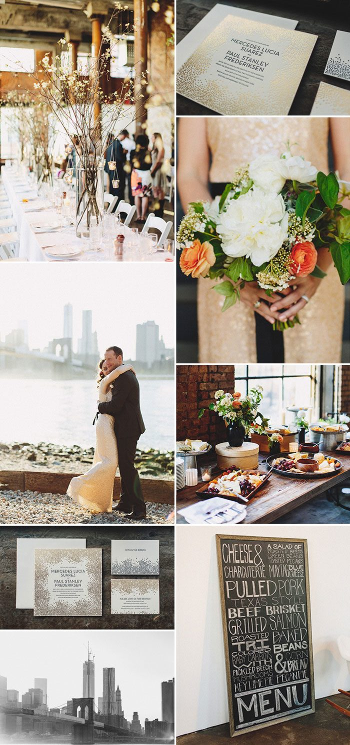 Real Bella Figura wedding in Brooklyn featuring the Joie de Vivre invitation suite by Kamal