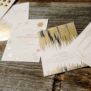 Letterpressed and foil stamped wedding invitations by Kamal for Bella Figura