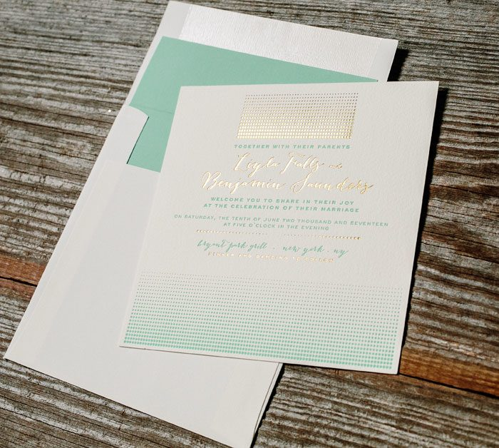 Stipple letterpress + foil stamped invitation by Kamal for Bella Figura