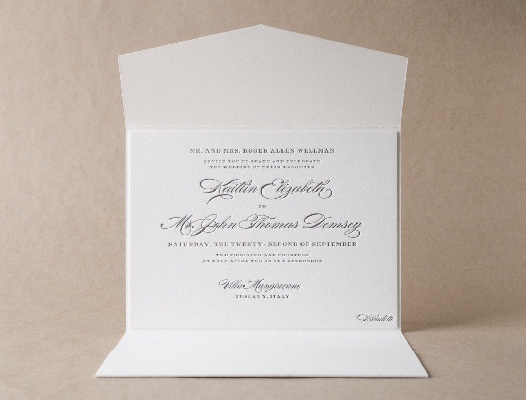 Luxurious cotton invitation paper & envelopes from Bella Figura