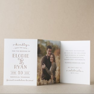 Elodie letterpress + photo tri-fold save the dates from Bella Figura
