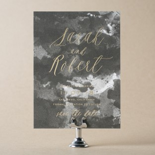 Lucaya digitally printed + gold foil stamped save the dates