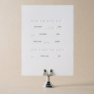 Modern Gray letterpress save the dates from Bella Figura