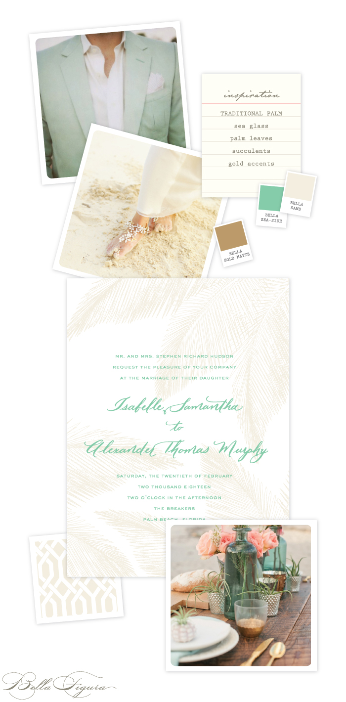 Traditional Palm beach wedding invitation ideas from Bella Figura
