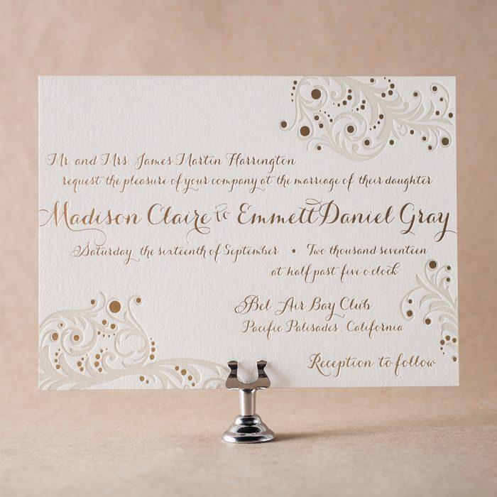 Capri letterpress + foil stamped wedding invitations