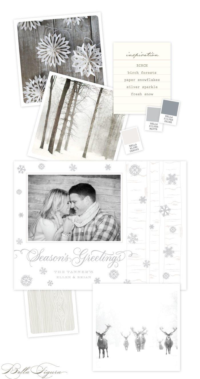 Birch letterpress holiday card inspiration by Bella Figura.