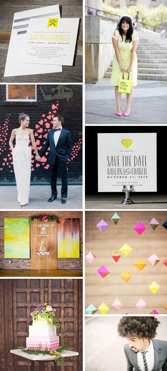 Geometric wedding inspiration featuring Blakesly letterpress wedding invitations from Bella Figura