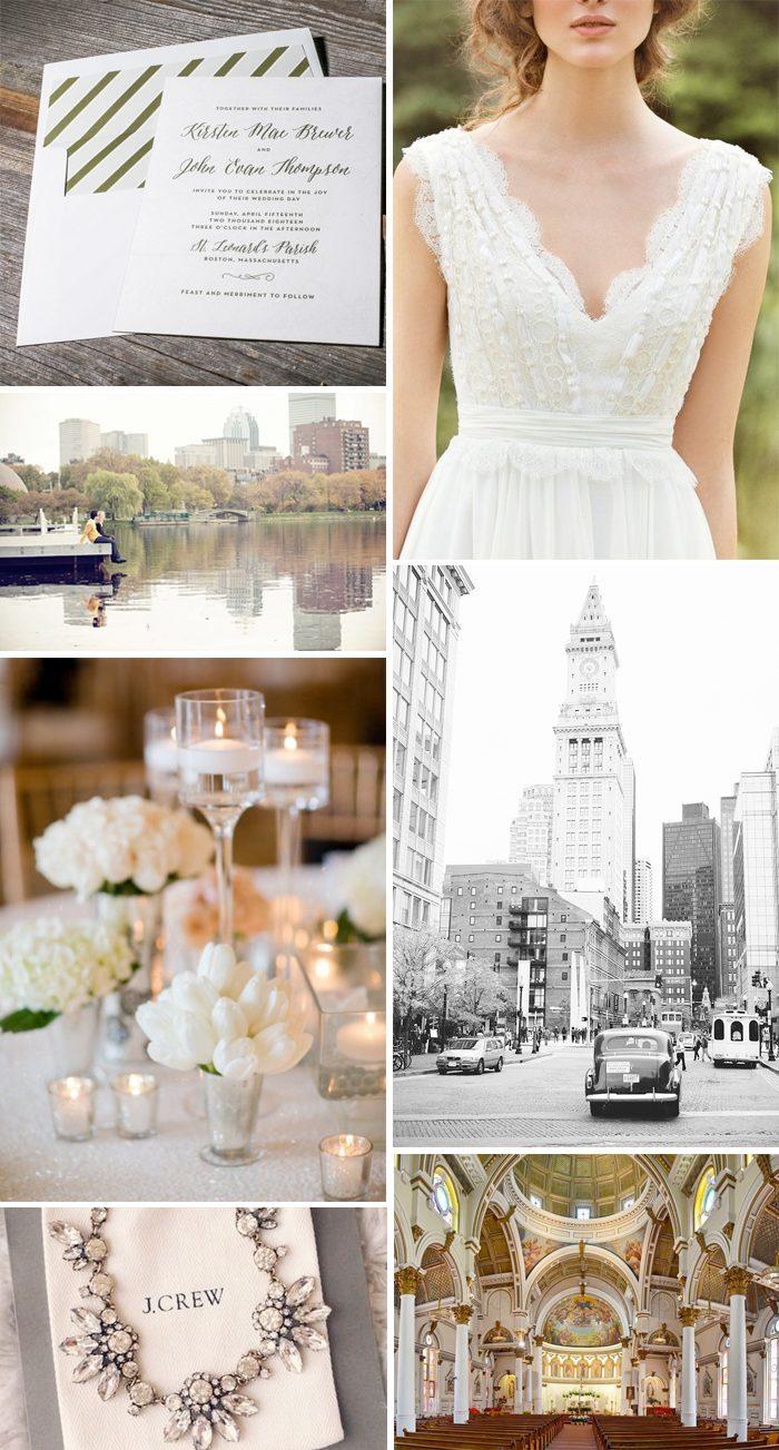 Boston wedding inspiration featuring Brewer letterpress wedding invitations from Bella Figura