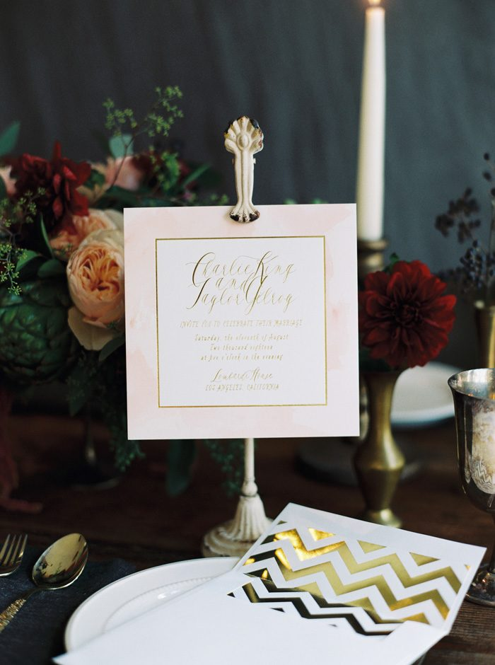 Brushstroke digitally printed + foil stamped wedding invitations with foil stamped envelope liners from Bella Figura | Photography by Kate Ignatowski