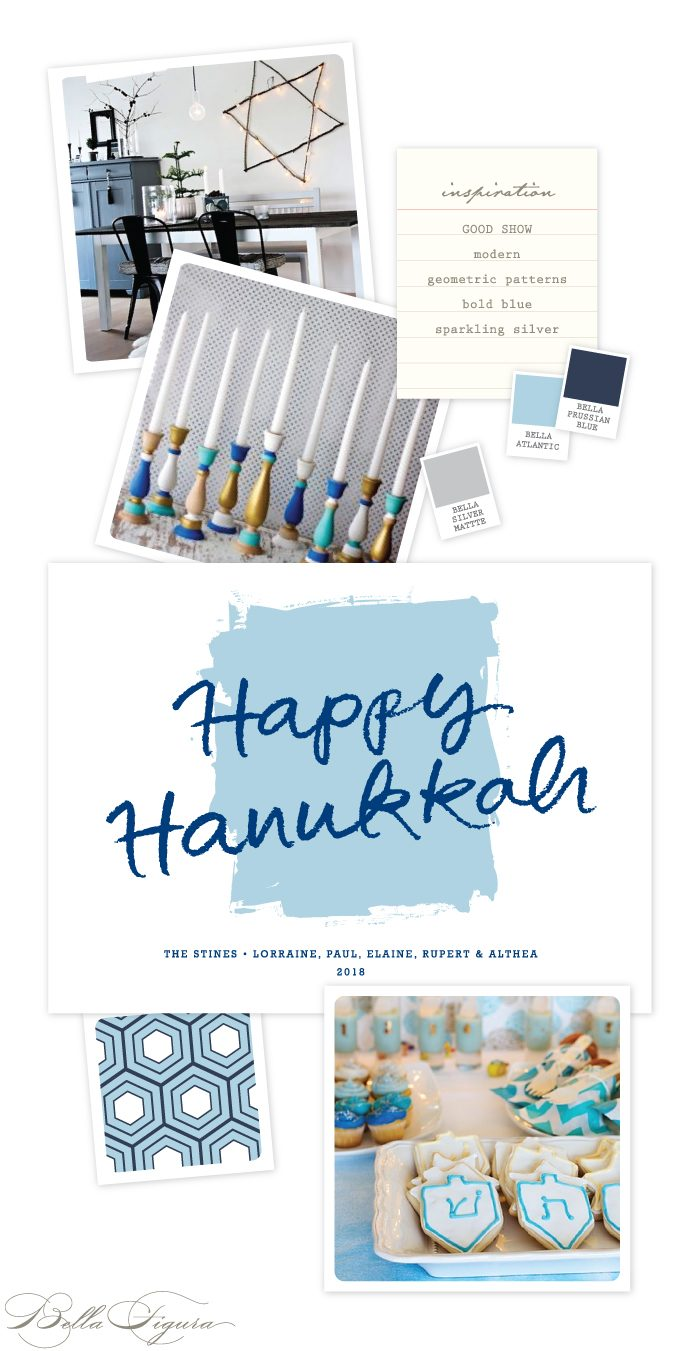 Modern Hanukkah letterpress card inspiration by Bella Figura.