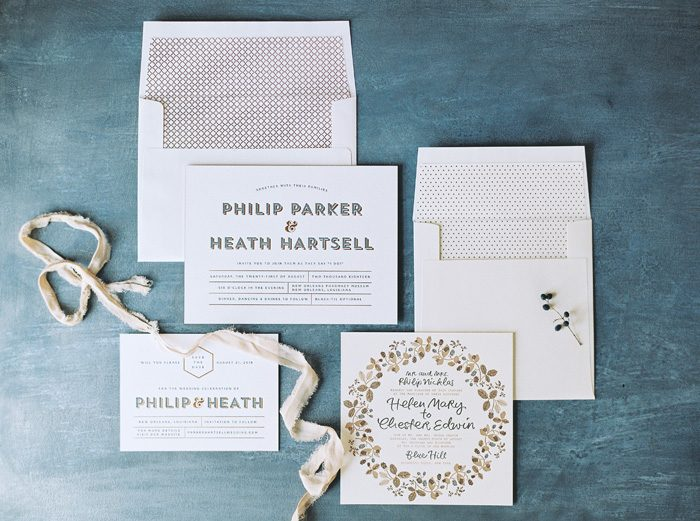 Heathcliff wedding invitations & save the dates + Bounty calligraphy wedding invitations from Bella Figura | Photography by Kate Ignatowski