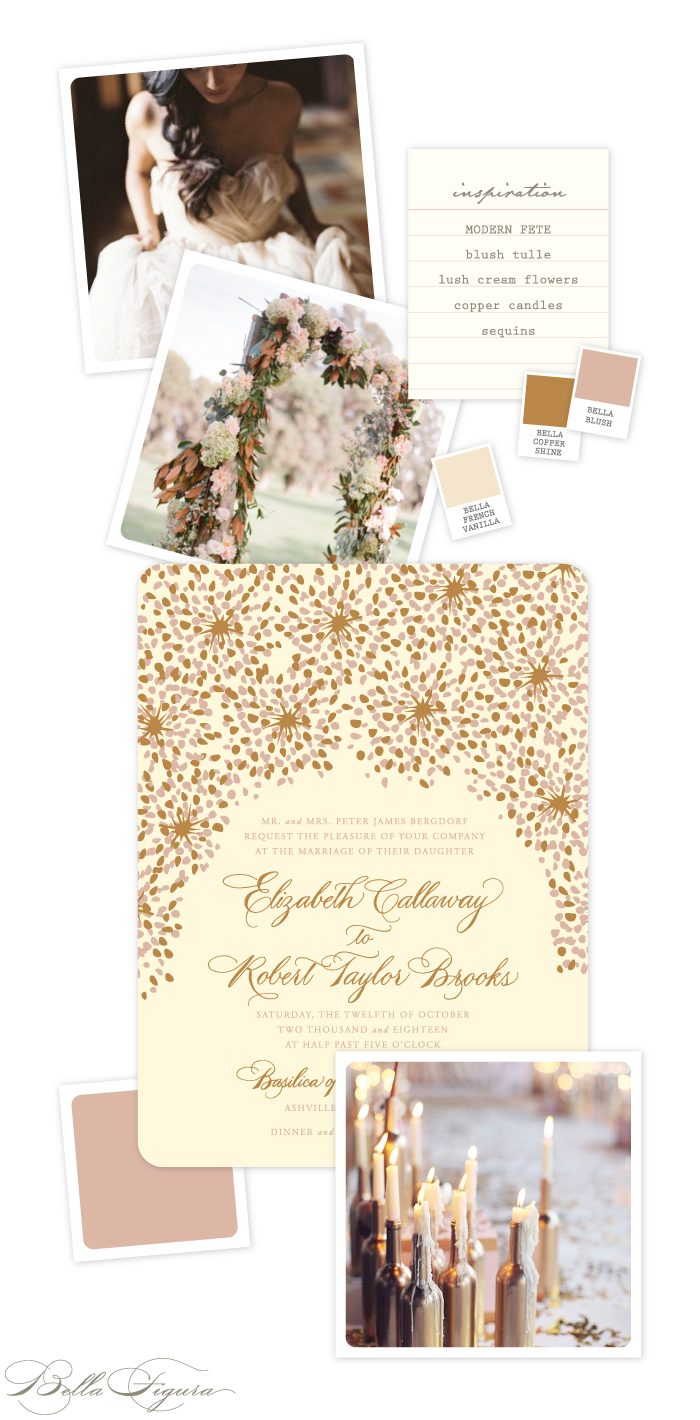 Enchanting Copper Shine and Fawn Modern Fete wedding invitation inspiration by Bella Figura