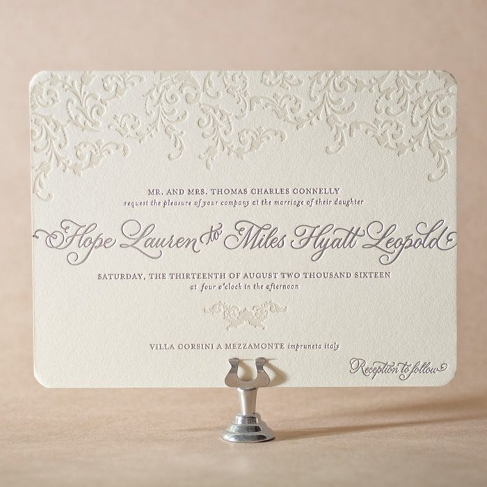 Ravenna letterpress + foil stamped wedding invitations with Victoria hand calligraphy accents.