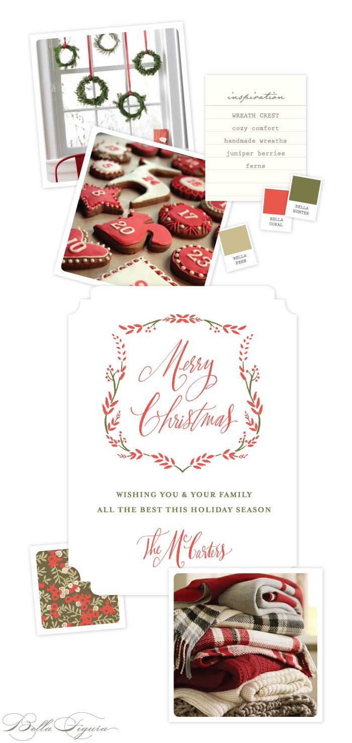 Folky floral Wreath Crest letterpress holiday card inspiration by Bella Figura.