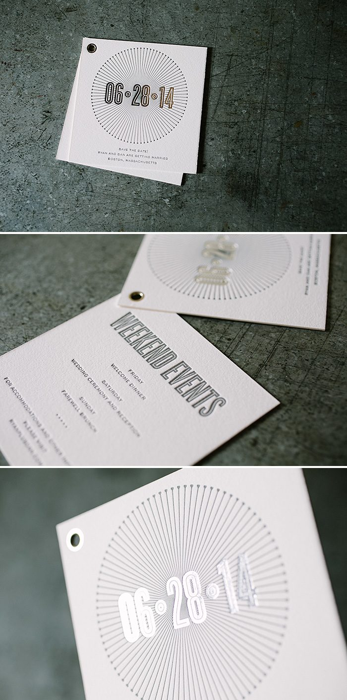Monochromatic Letterpress + Foil Stamped Save the Dates | Bella Figura