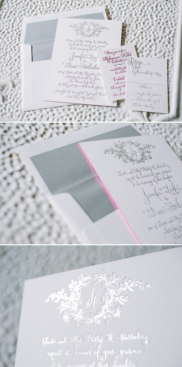 Custom calligraphy wedding invitations from Bella Figura