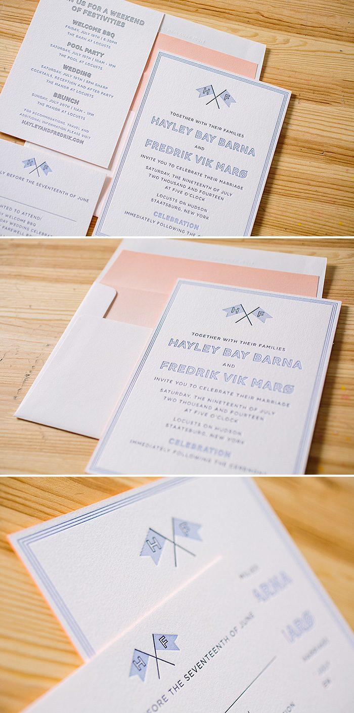 Preppy and fun Fanfare letterpress wedding invitations | Bella Figura