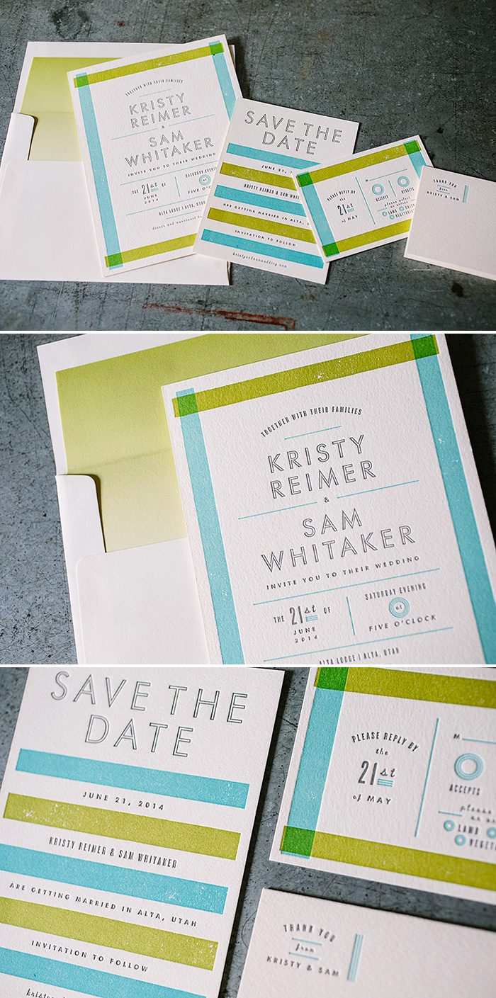 Modern letterpress wedding invitations from Bella Figura featuring surf, chartreuse, and pewter inks