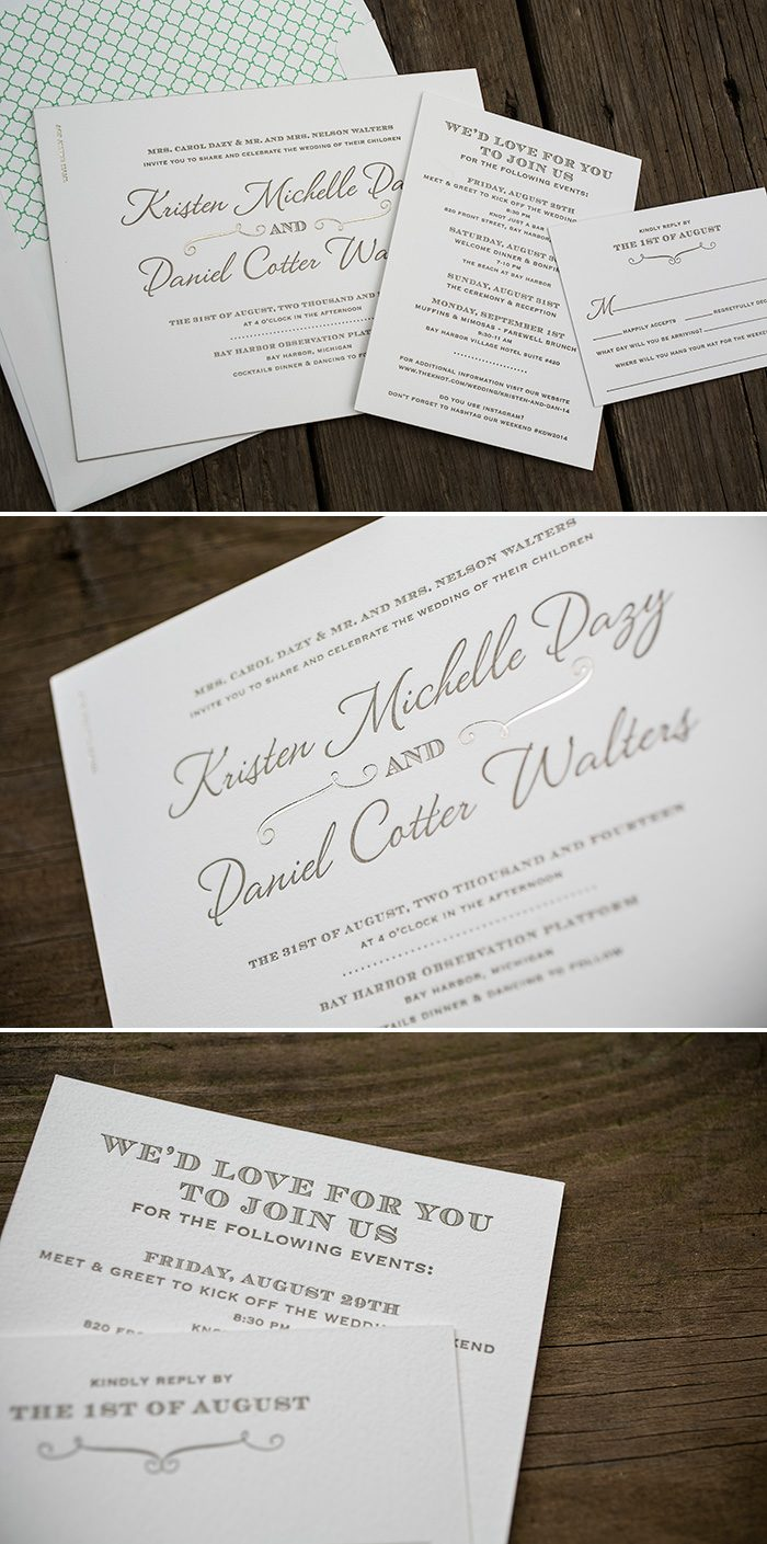 Horizontal Serendipity foil and letterpress wedding invitations | Bella Figura